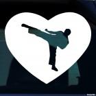 Наклейка каратист удар ногой в сердце