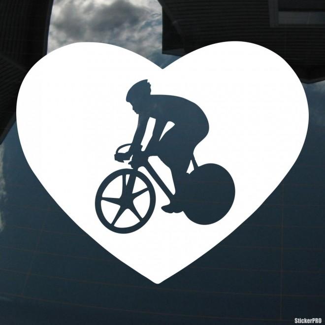 Наклейка велосипедист на шоссейнике в сердце