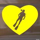 Наклейка дайвер в сердце