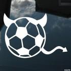 Наклейка футбольный мяч с рожками и хвостом