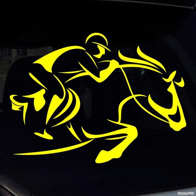 Наклейка конкур всадник в шлеме, конный спорт