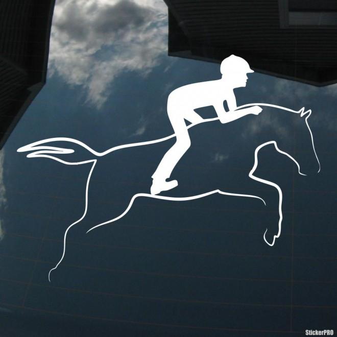 Наклейка конкур лошадь и всадник в прыжке, конный спорт
