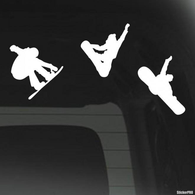 Наклейка 3 кадра сноубордист прыгает, экстремальные зимние виды спорта