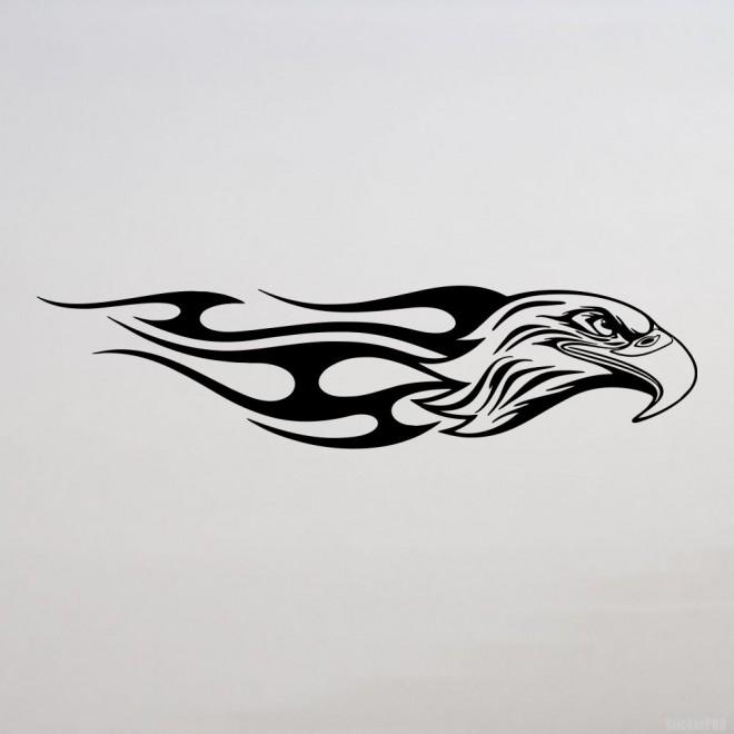 Наклейка голова птицы с пламенем флэймз