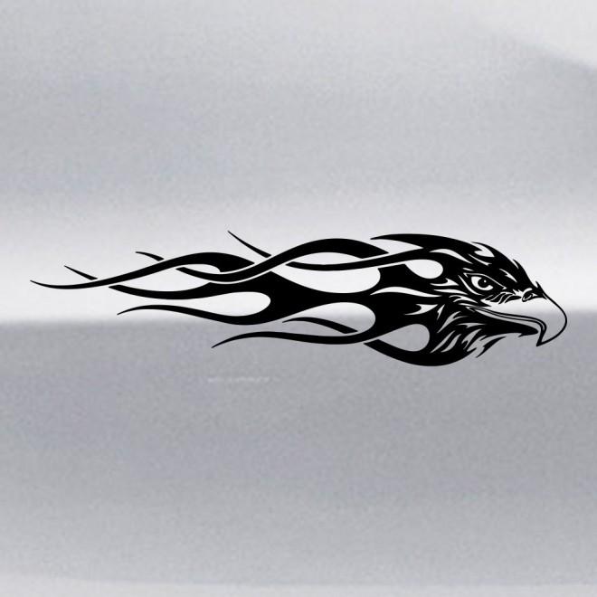 Наклейка голова хищной птицы с пламенем флэймз