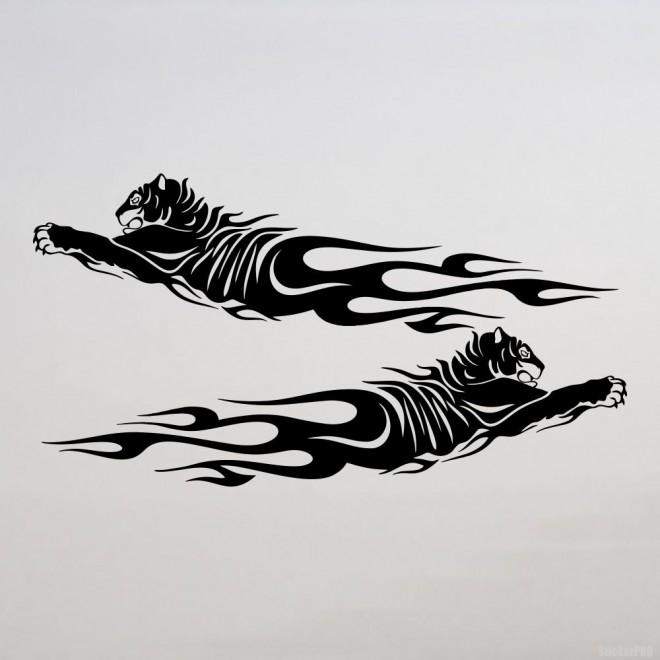 Наклейка 2 тигра в пламени флэймз