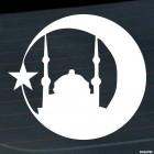 Наклейка мечеть, звезда и полумесяц Ислам