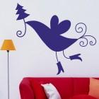Наклейка птичка с новогодней ёлкой