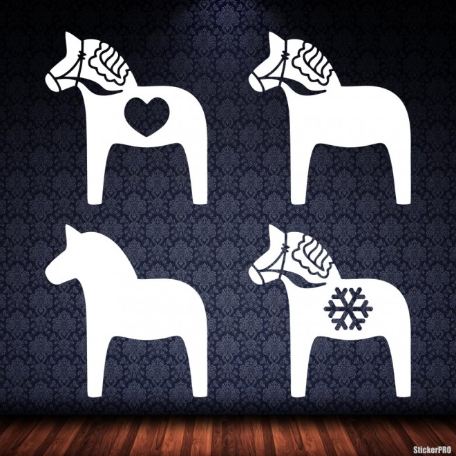 Наклейка 4 скандинавские лошади Дала