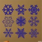 Наклейка 9 снежинок