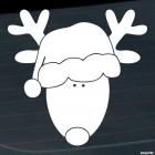 Наклейка рождественский олень в шапке Санты