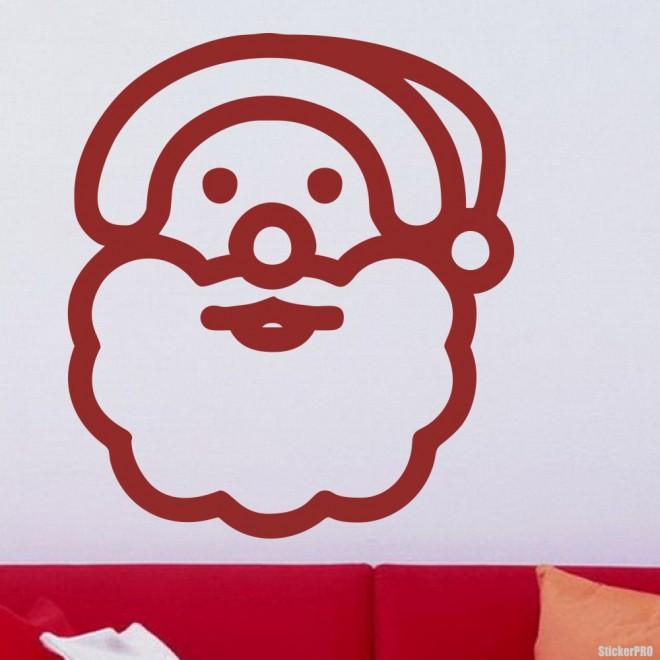 Наклейка Санта Клаус с бородой иконка