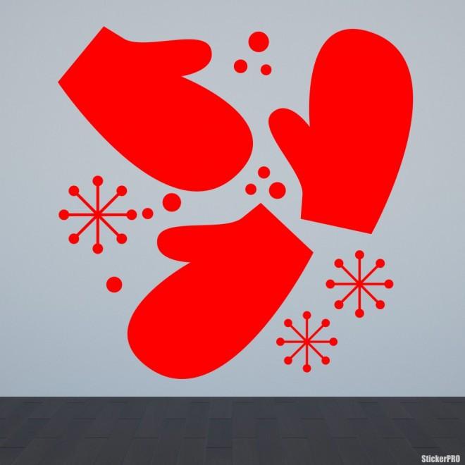Наклейка 3 варежки и снежинки