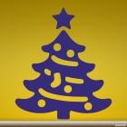 Наклейка новогодняя ёль со звездой и шарами